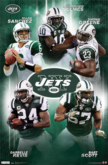"New York Jets ""Super Five"" NFL Action Poster (Sanchez, Greene, Revis, Scott, Holmes) - Costacos Sports 2011"