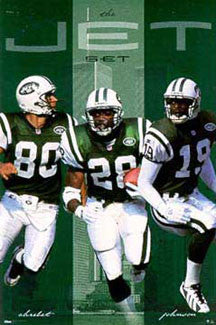 "New York Jets ""The Jet Set"" (Chrebet, Martin, Johnson) Poster - Costacos 1998"