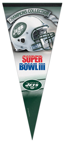 New York Jets Super Bowl III Champions EXTRA-LARGE Premium Felt Collector's Pennant - Wincraft