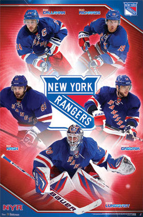 "New York Rangers ""Super Five"" NHL Action Poster - Costacos 2013"