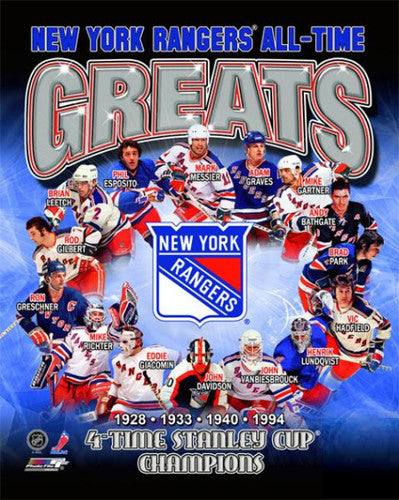 New York Rangers All-Time Greats (15 Legends, 4 Stanley Cups) Premium Poster Print