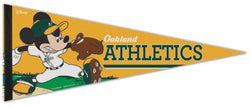 "Oakland A's ""Mickey Mouse Flamethrower"" Official MLB/Disney Premium Felt Pennant - Wincraft Inc."