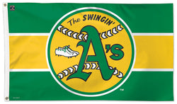 "Oakland A's ""Swingin' A's"" Style (1971-81) Cooperstown Collection MLB Baseball Deluxe-Edition 3'x5' Flag - Wincraft"