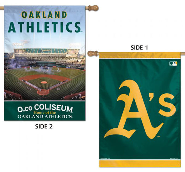 Oakland A's Official 2-Sided (Logo and O.Co Coliseum) Vertical 28x40 Flag Wall Banner - Wincraft Inc.