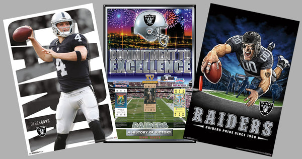COMBO: Oakland Raiders 3-Poster Combo Set (Super Bowls, Theme Art, Derek Carr)