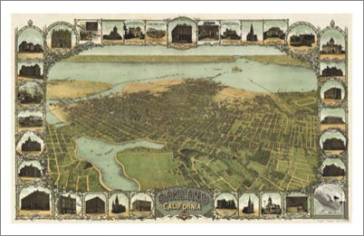 Oakland, California 1900 Classic Aerial Panoramic Map Premium Poster Print - McGaw Graphics