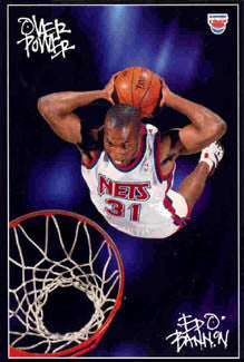 "Ed O'Bannon ""Overpower"" New Jersey Nets Poster - Costacos 1995"