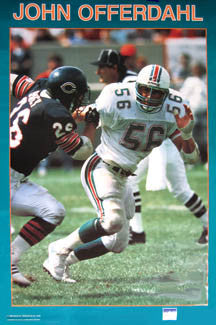 John Offerdahl Miami Dolphins Solid-Border Series NFL Action Poster - Starline 1988