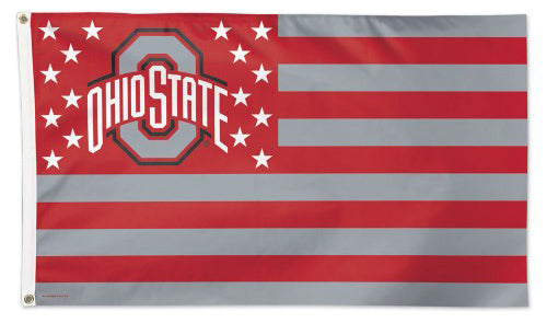 "Ohio State Buckeyes ""Stars-and-Stripes"" Americana NCAA Team Deluxe-Edition 3'x5' Flag - Wincraft Inc."