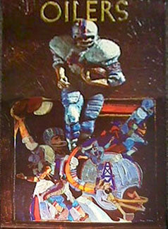 Houston Oilers NFL Collectors Series Vintage Original Theme Art Poster (1970)