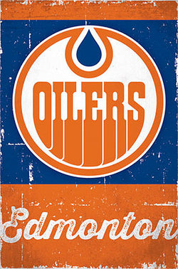 Edmonton Oilers Retro-Series NHL Team Logo Poster - Costacos Sports