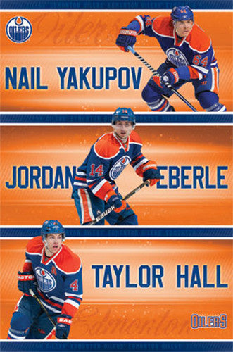 "Edmonton Oilers ""Super Trio"" NHL Poster (Yakupov, Eberle, Hall) - Costacos Sports 2013"