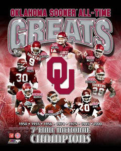 "Oklahoma Sooners ""All-Time Greats"" (8 Legends, 7 Championships) Premium Poster Print - Photofile"