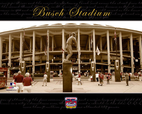 Old Busch Stadium Commemorative (Stadium Plaza w/Musial Statue) Premium Poster Print - Photofile