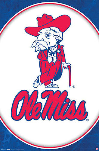 Ole' Miss Colonel Reb Official University of Mississippi NCAA Team Logo Poster - Costacos Sports