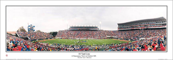 "Ole Miss Rebels Mississippi Football ""44 Yard Line"" Panoramic Poster Print - Everlasting Images 2005"