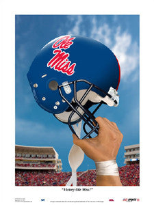 """Victory Ole Miss"" Rebels Football Art Print - USA Sports Inc."