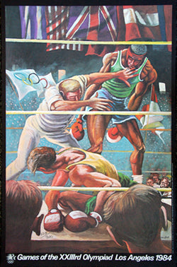Olympic Boxing 1984 LA Olympics Poster Print by Ernie Barnes (LE /300)