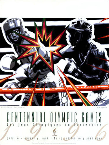 Atlanta 1996 Olympics Boxing Official Event Poster by Hiro Yamagata - Fine Art Ltd.