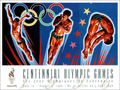 Atlanta 1996 Olympics Diving Official Event Poster by Yamagata - Fine Art Ltd.