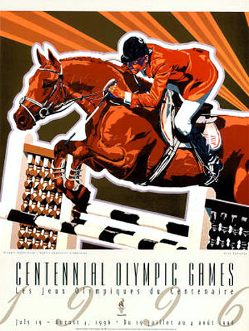 Atlanta 1996 Olympics Equestrian Show Jumping Official Event Poster - Fine Art Ltd.