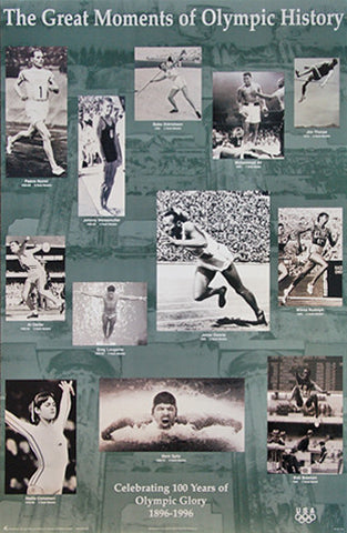 Great Moments of Olympic History 1896-1996 Poster - Fine Art Ltd.