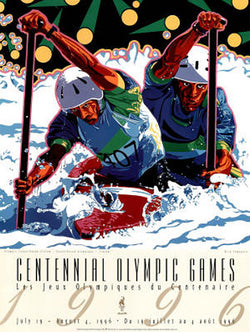 Atlanta 1996 Olympics Kayaking Official Event Poster by Yamagata - Fine Art Ltd.