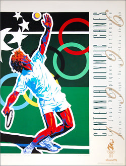 Atlanta 1996 Olympics Tennis Official Event Poster by Hiro Yamagata - Fine Art Ltd.