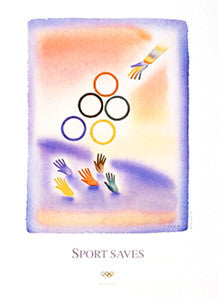 "Olympic Rings ""Sport Saves"" by Jean-Michel Folon Poster Print - Olympic Museum"