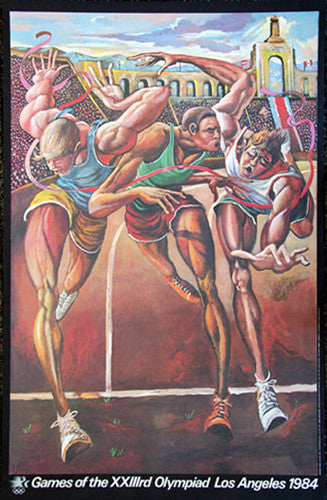 "100m Sprint ""The Finish"" 1984 LA Olympics Poster Print by Ernie Barnes (LE /300)"