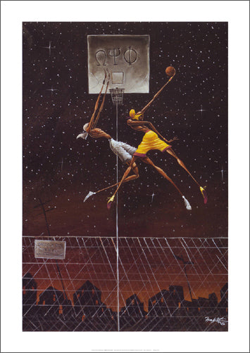 "Basketball City Pickup Game ""Omega Fly Dunk"" by Frank Morrison Premium Poster Print - Bruce Teleky Inc."