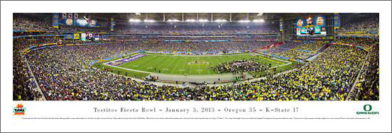 Fiesta Bowl 2013 (Oregon 34, Kansas State 17) Panoramic Poster Print - Blakeway Worldwide