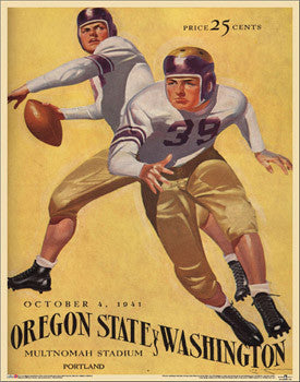 Oregon State Beavers Football 1941 vs. Washington Vintage Poster Print - Asgard Press