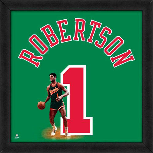 "Oscar Robertson ""Number 1"" Milwaukee Bucks FRAMED 20x20 UNIFRAME PRINT - Photofile"
