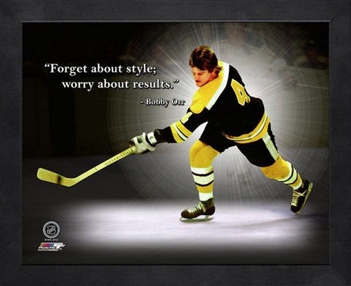 "Bobby Orr ""Worry About Results"" Boston Bruins FRAMED 16x20 PRO QUOTES PRINT - Photofile"