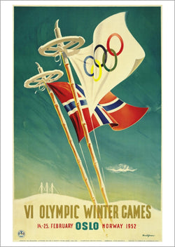 Oslo Norway 1952 Winter Olympic Games Official Poster Reprint - Olympic Museum