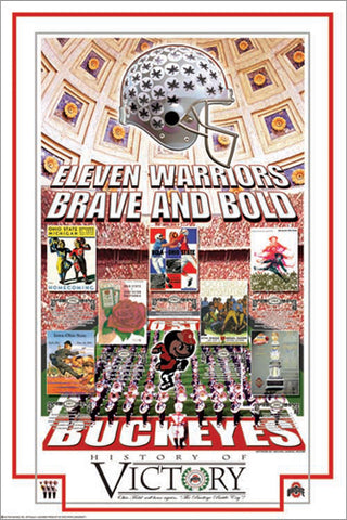 "Ohio State Buckeyes ""History of Victory"" 7-Time Champions Poster - Action Images"