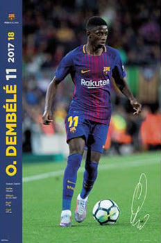 "Ousmane Dembele ""Signature Series"" FC Barcelona Official La Liga Soccer Action Poster - G.E. (Spain) 2017"