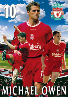 "Michael Owen ""Triple Action"" Liverpool FC Poster - GB 2003"