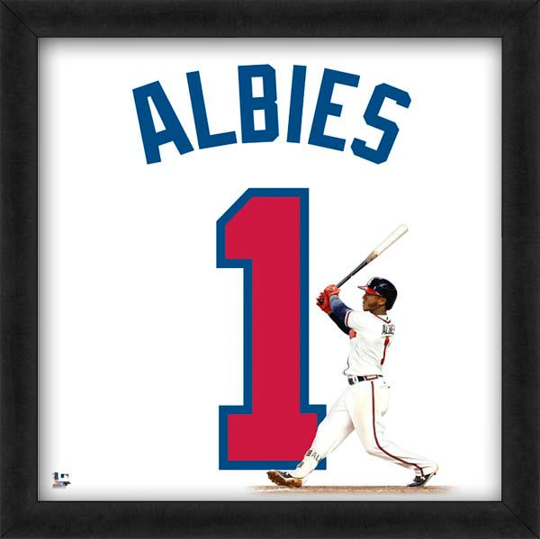 "Ozzie Albies ""Number 1"" Atlanta Braves MLB FRAMED 20x20 UNIFRAME PRINT - Photofile"