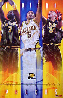 "Indiana Pacers ""Yellow and Blue"" Poster (O'Neal, Rose, Miller) - Starline 2001"