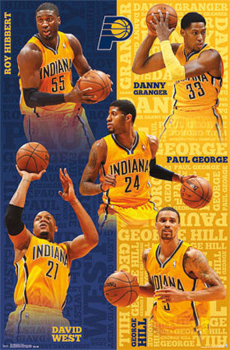 "Indiana Pacers ""Power Five"" NBA Action Collage Poster - Costacos 2014"