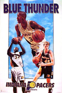 "Indiana Pacers ""Blue Thunder"" Poster (Reggie Miller, Smits, Davis) - Costacos 1995"
