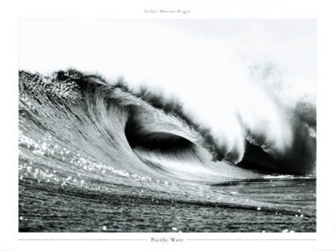 "Ocean Surf ""Pacific Wave"" Black-and-White Photographic Art Print Poster - Pecheur d'Images"