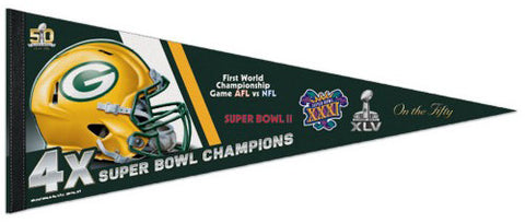 Green Bay Packers 4-Time Super Bowl Champions Premium Felt Collector's Pennant - Wincraft