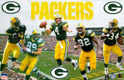 "Green Bay Packers ""5-Stars"" Poster (Favre, Brooks, Chmura, White, Bennett) - Starline 1996"