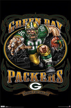 "Green Bay Packers ""Grinding it Out Since 1921"" NFL Football Theme Art Poster - Liquid Blue"