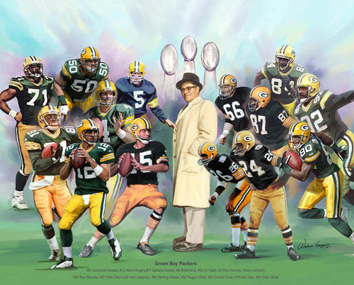 "Green Bay Packers ""15 Legends"" Art Print by Wishum Gregory"
