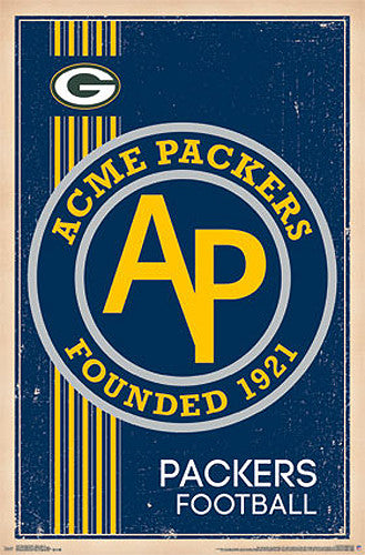 "Green Bay Packers ""Acme Packers"" NFL Heritage Series Retro Logo Poster"