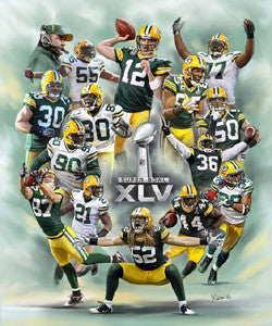 Green Bay Packers Super Bowl XLV Commemorative Art Print - Wishum Gregory